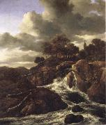 A Waterfall with Rocky Hilla and Trees, Jacob van Ruisdael