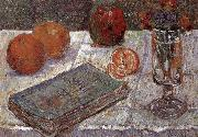 The still life having book and oranges, Paul Signac