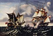 Thomas Chambers Capture of H.B.M.Frigate Macedonian by U.S.Frigate United States oil painting