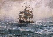 Thomas Somerscales A Ship running before a Gale oil painting