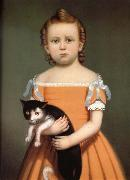 William Thompson Bartoll Gril and Cat oil painting