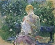 Pasie Sewing in the Garden at Bougival, Berthe Morisot