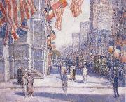 Early Morning on the Avenue in May 1917, Childe Hassam