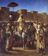 Mulay Abd al-Rahman,Sultan of Morocco,Leaving his palace in Meknes,Surrounded by his Guard and his Chief Officers