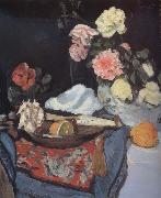 Fruit and Flowers on a Draped Table