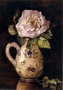 White Rose in a Glazed Ceramic Pitcher with Floral Design, Hirst, Claude Raguet