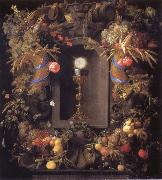 Jan Davidsz. de Heem Chalice and the host,surounded by garlands of fruit oil painting reproduction