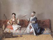 Portrait of M.Levett and of Mlle Glavany Seated on a Sofa, Jean-Etienne Liotard