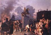 Johannes Adam  Oertel Pulling Down the Statue of King George III oil painting reproduction