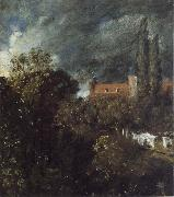 John Constable View into a Garden in Hampstead with a Red House beyond