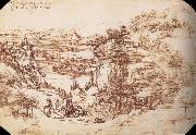 Landscape in the Arnotal, LEONARDO da Vinci