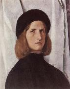 Portrat of a young man before a woman curtain, Lorenzo Lotto