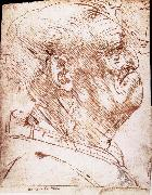 Grotesque profile of a man, LEONARDO da Vinci