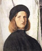 Portrait of a young man against a white curtain, Lorenzo Lotto
