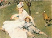 Camille Monet and Her son Jean in the Garden at Arenteuil, Pierre-Auguste Renoir