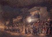 Sevak Ram,Patna A Marriage Proceesion at night oil painting
