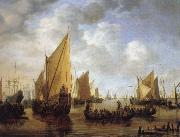 Simon de Vlieger Visiting the Fleet oil painting reproduction