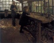 William Stott of Oldham Grandfather-s Workshop oil painting