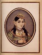 A Courtesan of Maharaja Sawai Ram Singh of Jaipur Dressed for the Spring Festival, unknow artist