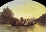 Crossing the Elbe at Aussig, Adrian Ludwig Richter