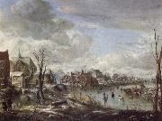 A Frozen River Near a Village,with Golfers and Skaters, Aert van der Neer