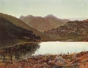 Atkinson Grimshaw Blea Tarn at First Light,Langdale Pikes in the Distance oil painting