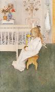 Lisbeth in her night Dress with a yellow tulip, Carl Larsson