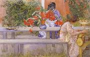 Karin and Brita with Cactus, Carl Larsson