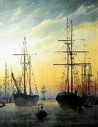 Caspar David Friedrich View of a Harbour .