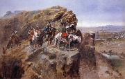 Indians on a Bluff Surverying General Miles-Troops, Charles M Russell