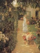 Gathering Flowers in a French Garden, Childe Hassam