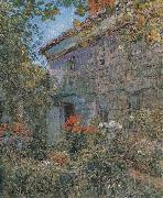 Old House and Garden,East Hampton,Long Island, Childe Hassam