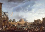 Claude-joseph Vernet A Sporting Contest on the Tiber at Rome oil painting