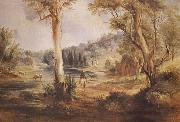 Australian Landscape with cattle and a stockman at a creek