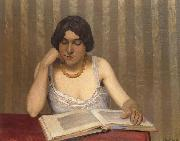 Woman wiht Yellow Necklace Reading