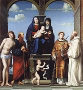 The Virgin and Child and Saint Anne Enthroned with Saints Sebstian,Paul,John,Lawrence and Benedict