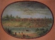 George Catlin Minnetarree Village Seen Miles above the Mandans on the Bank of the Knife River oil painting on canvas