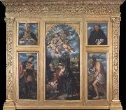 Girolamo Romanino Polyptych of the Nativity,with Saints Alexander,Jerome,Gaudioso and Filippo Benizzi oil painting reproduction