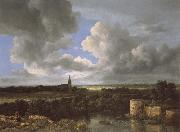 A Landscape with a Ruined Castle and a Church, Jacob van Ruisdael