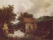 Jacob van Ruisdael Two Watemills and an Open Sluice near Singraven oil painting reproduction