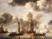 A Dutch Yacht Firing a Salute as a Barge Pulls Away and Many Small vessels at Anchor, Jan van de Cappelle