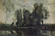 Jean Baptiste Camille  Corot Trees amidst the Marsh
