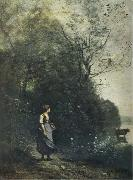 Jean Baptiste Camille  Corot Landscape with a peasant Girl grazing a Cow at the Edge of a Forest