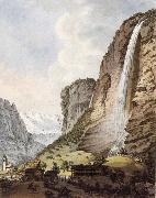 Johann Ludwig Aberli Fall d-eau apellee Staubbach in the Vallee Louterbrunen oil painting artist