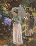 Two Girl with Parasols at Fladbury, John Singer Sargent