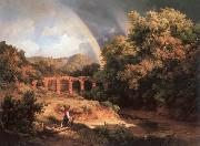 Karoly Marko the Elder Italian Landscape with Viaduct and Rainbow oil painting reproduction