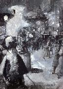Lesser Ury At the railway station Friedrichstrabe oil painting