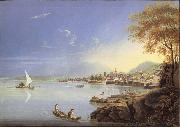 Louis Bleuler Seen city of Neuchatel oil painting on canvas