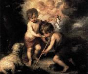 Infant Christ Offering a Drink of Water to St John, MURILLO, Bartolome Esteban