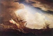 Monamy, Peter English ships beating to windward in a gale oil painting artist